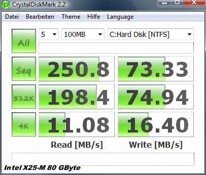 Test: Kingstons halbe Intel-SSD für unter 100 Euro  - Crystal Disk auf Intel X25-M