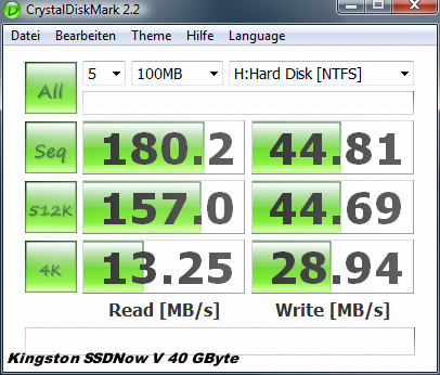 Test: Kingstons halbe Intel-SSD für unter 100 Euro  - Crystal Disk auf Kingston SSDNow V 40 GByte
