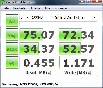 Test: Kingstons halbe Intel-SSD für unter 100 Euro  - Crystal Disk auf Samsung HD321KJ (Festplatte)