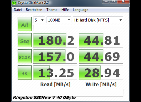 Crystal Disk auf Kingston SSDNow V 40 GByte