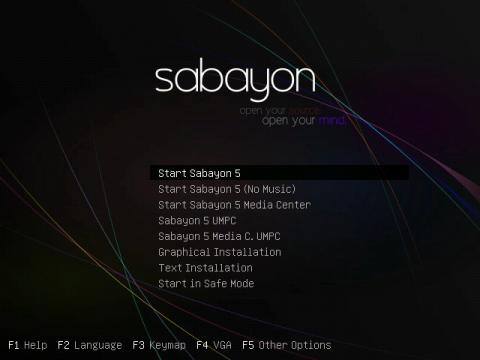 Das Sabayon-Bootmenü: Neben dem Standardstart stehen auch die Optionen für die Media-Center- und Netbook-(OLPC-)Versionen zur Verfügung.