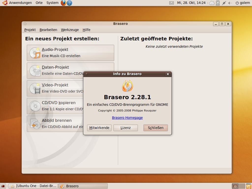 Test: Ubuntu 9.10 mit grundlegenden Veränderungen - Brennprogramm Brasero 2.28 dabei