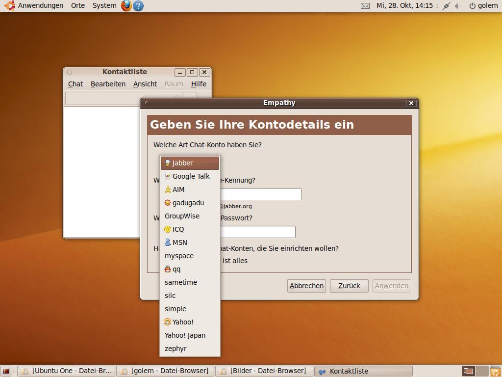Test: Ubuntu 9.10 mit grundlegenden Veränderungen - Das neue Chatprogramm Empathy bettet sich nahtlos in den Gnome-Desktop ein.