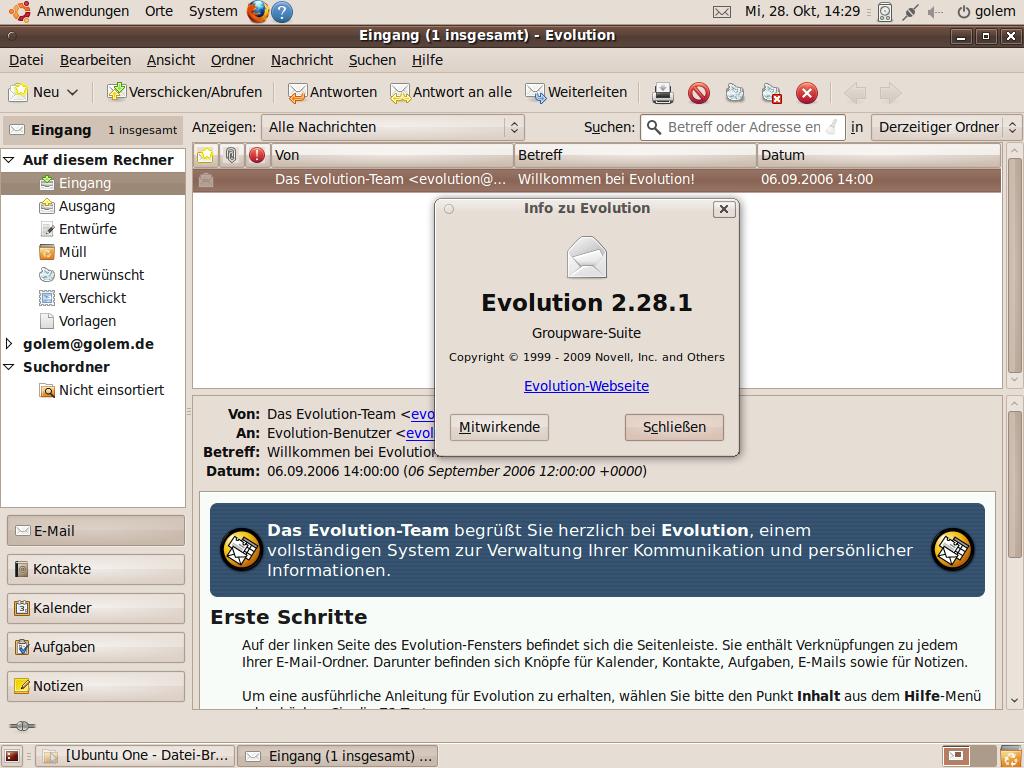 Test: Ubuntu 9.10 mit grundlegenden Veränderungen - Personal Information Manager Evolution in aktueller Version