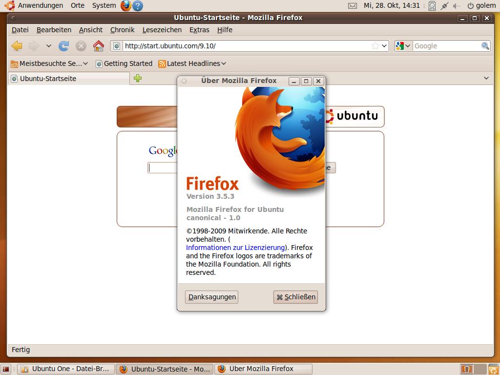 Test: Ubuntu 9.10 mit grundlegenden Veränderungen - Der Internet Browser Firefox wurde auf die Version 3.5.3 aktualisiert.