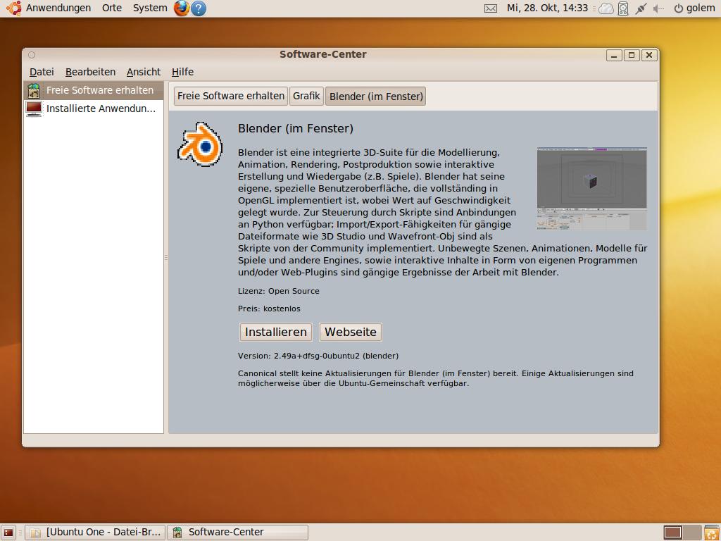 Test: Ubuntu 9.10 mit grundlegenden Veränderungen - ... der detaillierte Informationen zu einzelnen Paketen bietet.