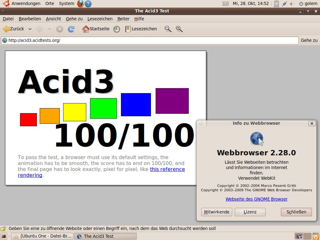 Test: Ubuntu 9.10 mit grundlegenden Veränderungen - ... schafft der Gnome-eigene Browser Epiphany 2.28 mit Webkit glatte 100 Punkte im Acid3-Test.