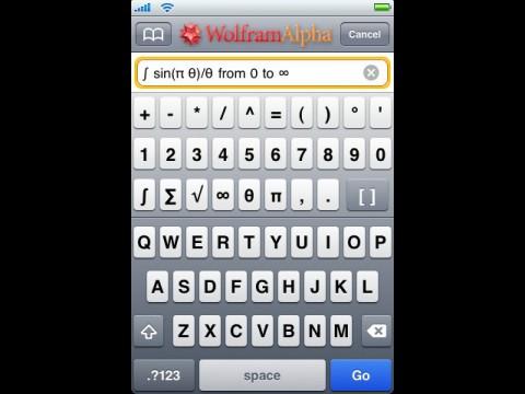 Wolfram-Alpha-iPhone-App - Eingabe von wissenschaftlichen Zeichen