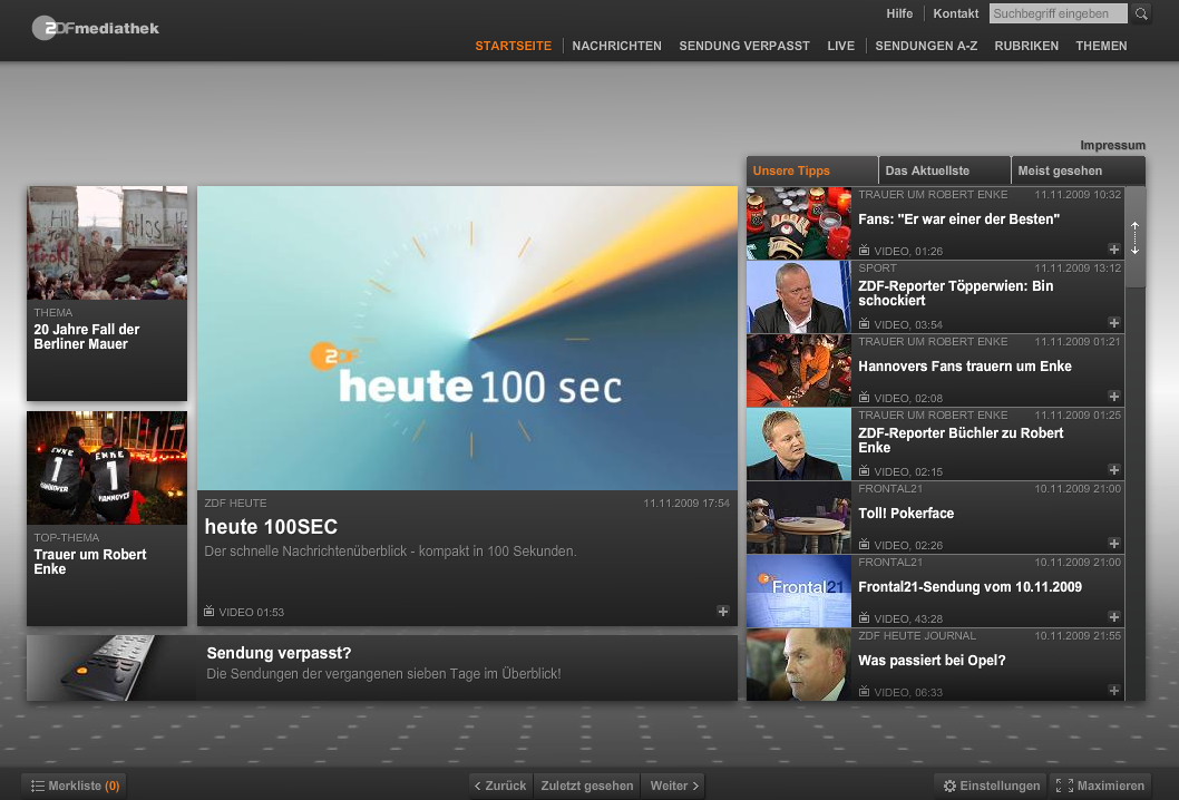 Das ZDF hat seine Mediathek renoviert - Startseite der neuen Mediathek