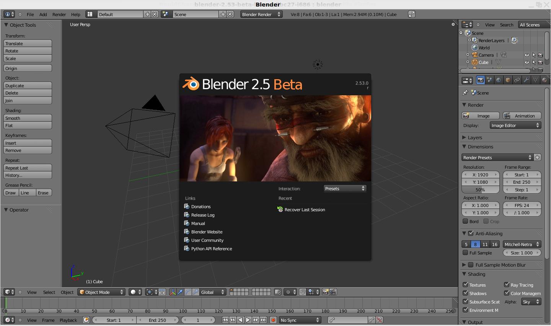 Blender: 2.53 Beta präsentiert die neue Benutzeroberfläche - Blender 2.53 mit Splashscreen
