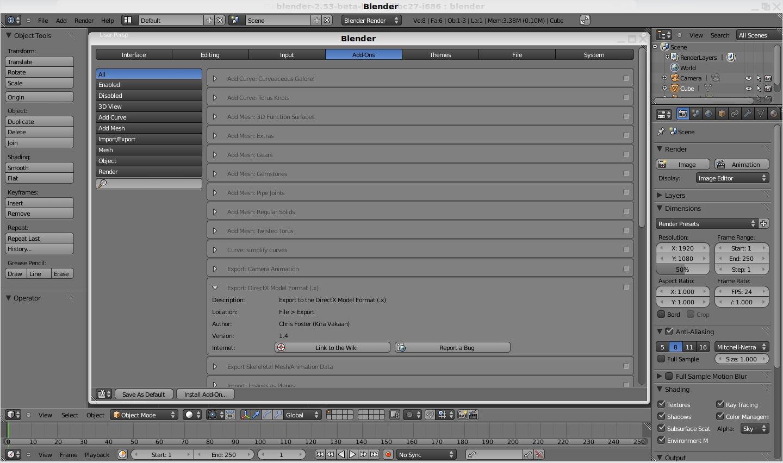 Blender: 2.53 Beta präsentiert die neue Benutzeroberfläche - Die neue Addon-Verwaltung