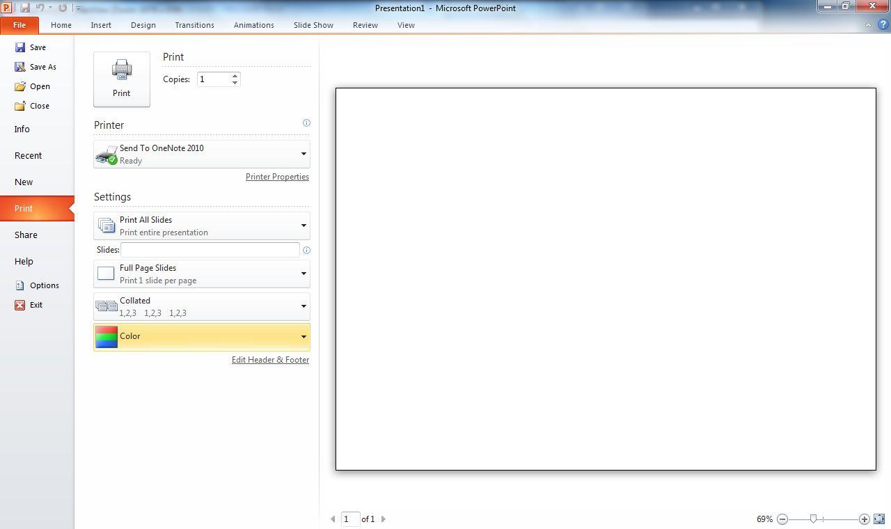 Google vs. Microsoft: Wer braucht Office 2010? - Druckeinstellungen im Backstage-Bereich