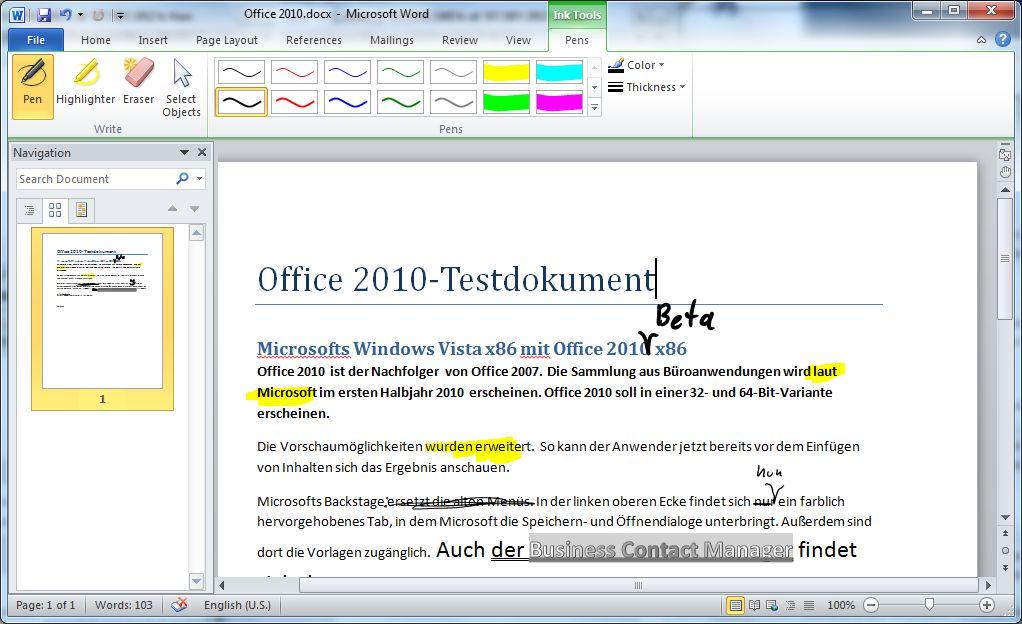 Google vs. Microsoft: Wer braucht Office 2010? - Word 2010 Beta