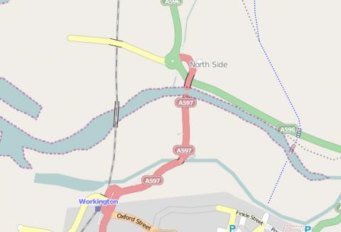 Nördlich von Workington: Die Brücke der A597 ist nicht mehr passierbar. OpenStreetMap-Nutzer haben den Schaden eingetragen.