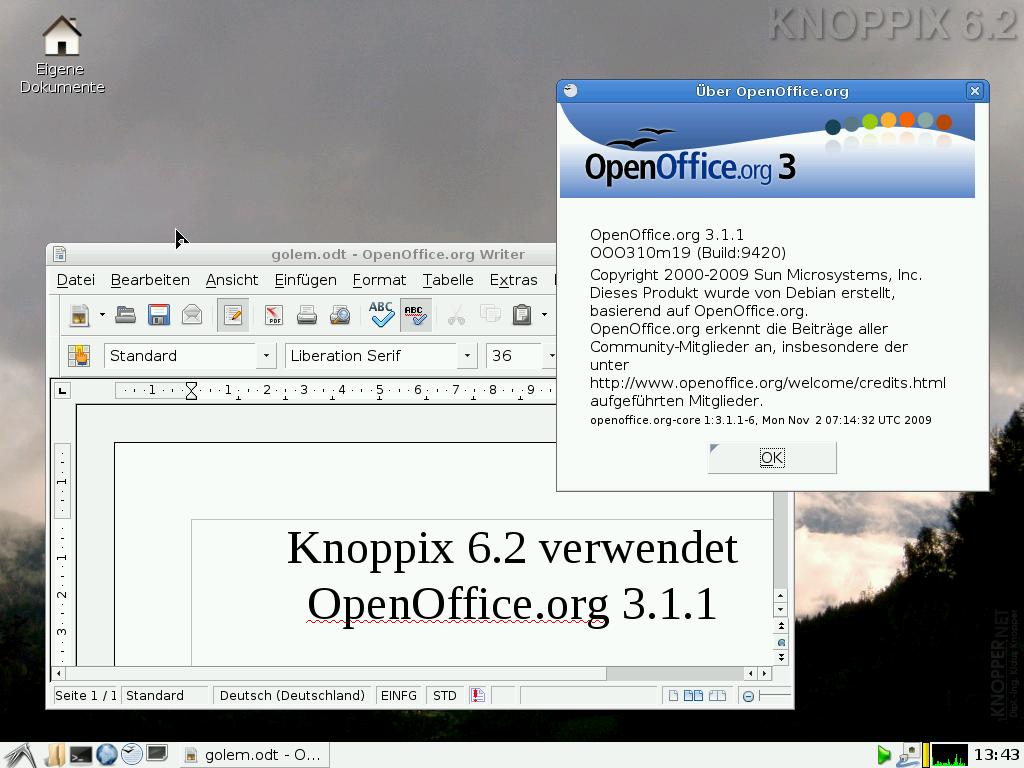Knoppix 6.2 erschienen - OpenOffice.org