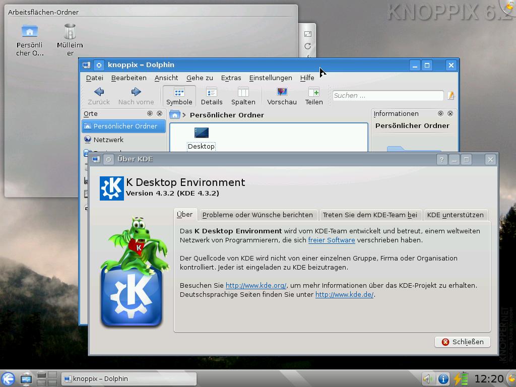 Knoppix 6.2 erschienen - Der KDE-Desktop