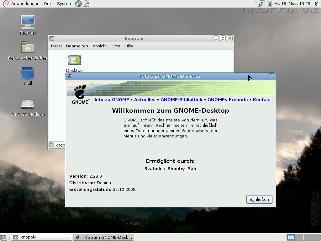 Knoppix 6.2 erschienen - Der Gnome-Desktop