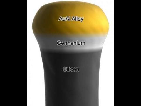 Nanodraht aus Silizium und Germanium. Beide Schichten sind klar getrennt (Foto: Purdue University, Birck Nanotechnology Center/Seyet LLC)