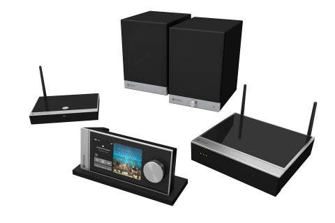 Raumfeld-Multi-Room-Audio-System mit Base, Controller, Connector und Speaker-S