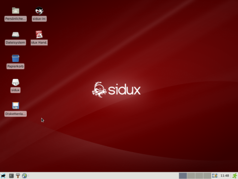 Sidux mit Xfce-Desktop und neuem Theme