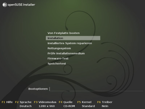 Begrüßungsbildschirm beim Start von der Installations-DVD
