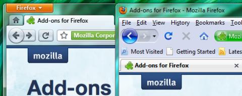 Firefox 4.0 (links) im Vergleich mit Firefox 3.5 (rechts)