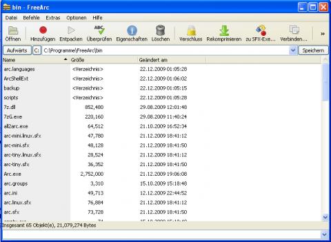 FreeArc - Benutzeroberfläche