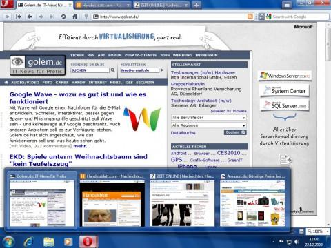Opera 10.50 mit Windows-7-Tabvorschau und Browserinstanz im Privatsurfenmodus
