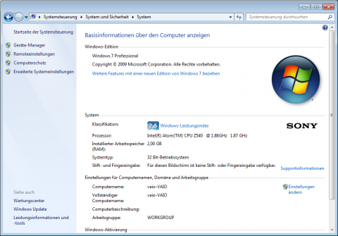 Windows 7 in der Professional-Version