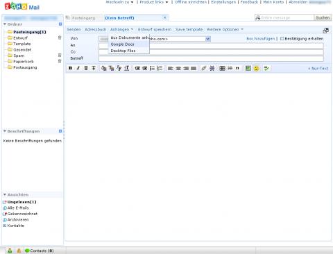 Zoho Mail mit Google-Docs-Attachement