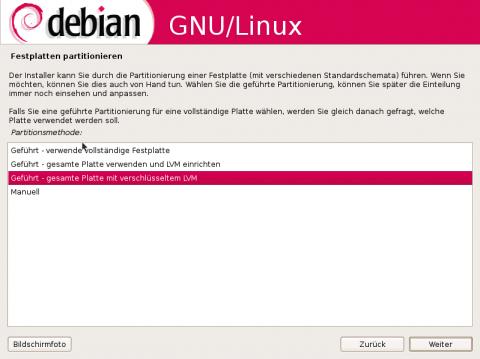 Der Debian-Installer erklärt die einzelnen Installationschritte