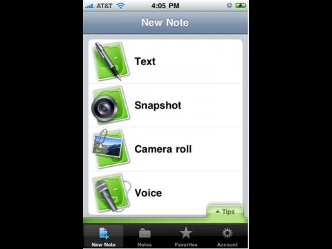 Evernote iPhone App  Startbildschirm