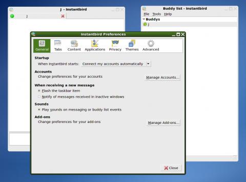 Instantbird unter Linux mit neuem Optionsfenster