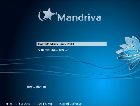 Der Bootscreen von Mandriva
