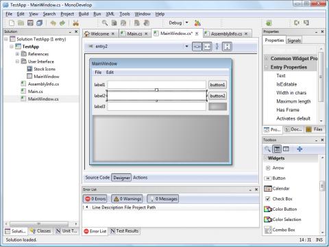 Neue Entwicklungsumgebung Monodevelop 2.2 unter Windows