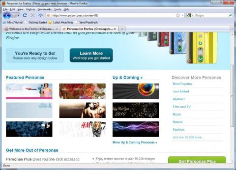 Personas: Firefox 3.6 ist auch ohne Erweiterung für die Hintergrundbilder bereit ...