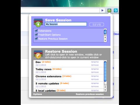 Freshstart - Speichern von Sessions