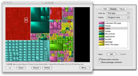 Grandperspektive - Hervorhebung einzelner Dateitypen