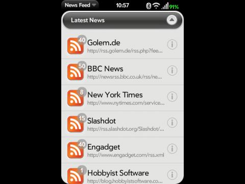 News Feed für WebOS - Feedübersicht