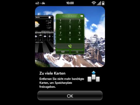 Palm Pre mit Fehlermeldung: Es kann keine weitere Applikation mehr gestartet werden