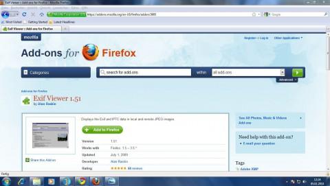 Den Exif Viewer gibt es auf Mozillas Addon-Portal.