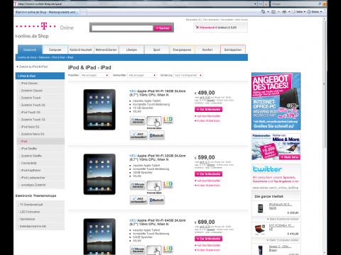T-Onlines Angebote für das iPad vom 29. Januar 2010
