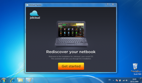 Jolicloud kann unter Windows in einer Containerdatei installiert werden. Dabei wird das von Ubuntu stammende Tool Wubi verwendet.
