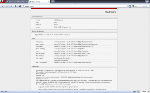 Vorabversion des Browsers Opera für Unix/Linux