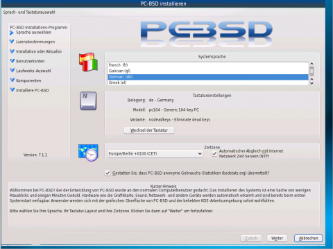 Der neue Installer der Distribution PC-BSD...