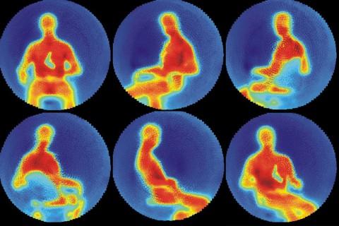 Das Bild der Terahertzkamera gleicht einem Wärmebild, Gegenstände erscheinen als Schatten, wie die Pistole links oben. (Foto: IPHT)