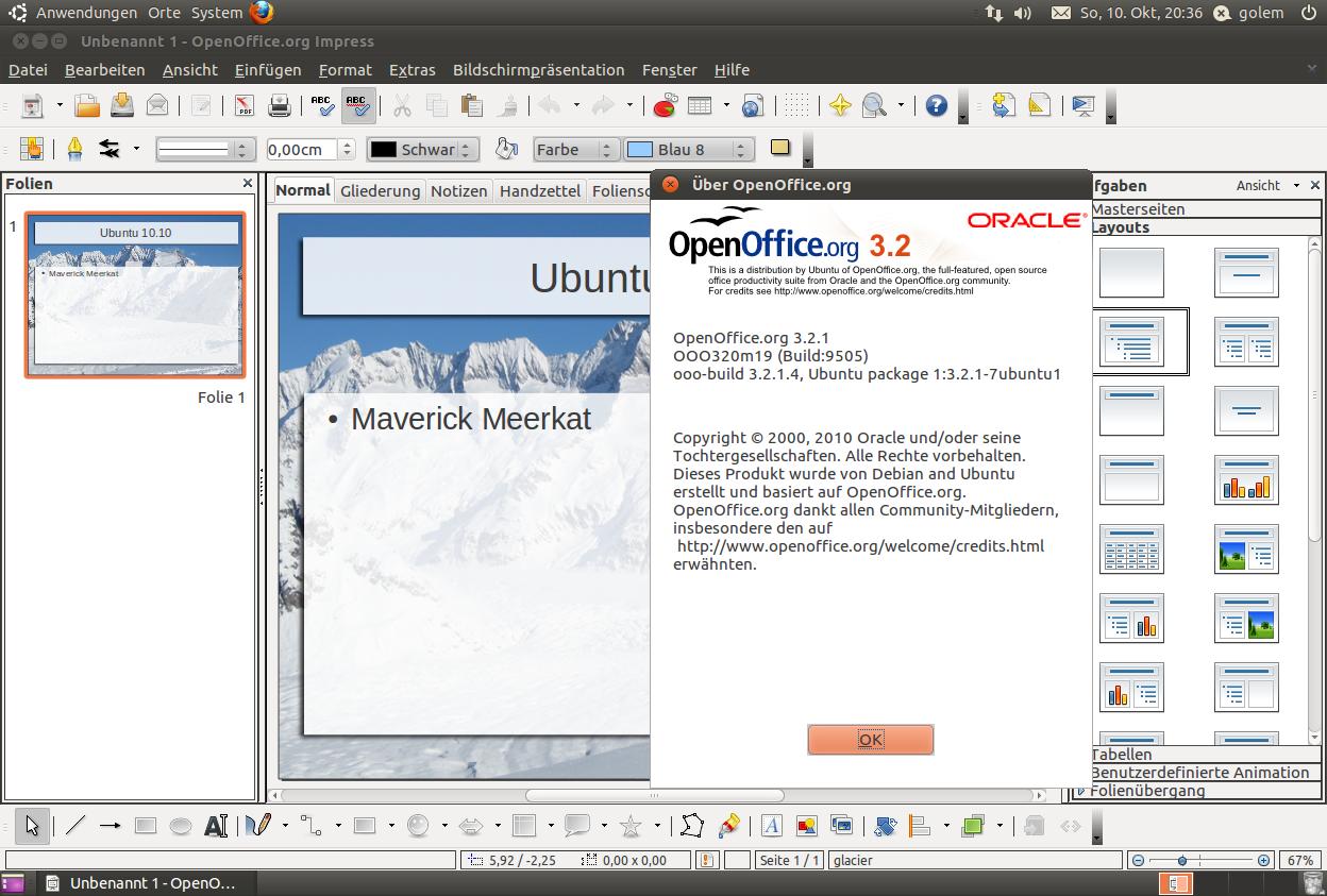 Ubuntu 10.10 im Test: Maverick Meerkat mit neuer Schriftart und Installer - Openoffice.org ist in Version 3.2.1 dabei.