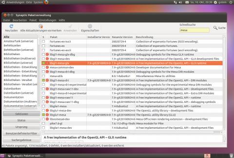 Die Grafikbibliothek Mesa leigt in der aktuellen Version 7.9 bei.