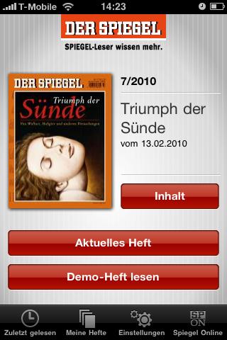 Der Spiegel: Printausgabe als Bezahlinhalt fürs iPhone - Der Spiegel - Startseite