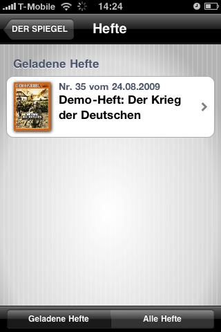 Der Spiegel: Printausgabe als Bezahlinhalt fürs iPhone - Der Spiegel - Hefte im Besitz